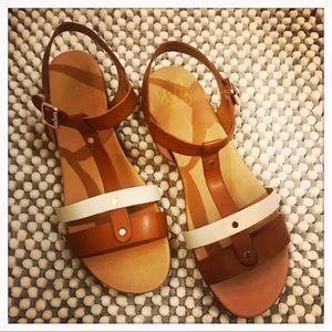 Brown/ White Strappy Sandal